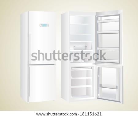 the empty white fridge - stock vector