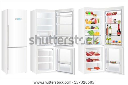 The empty white refrigerator and full with some kinds of food - vegetables, meat, fish - stock vector