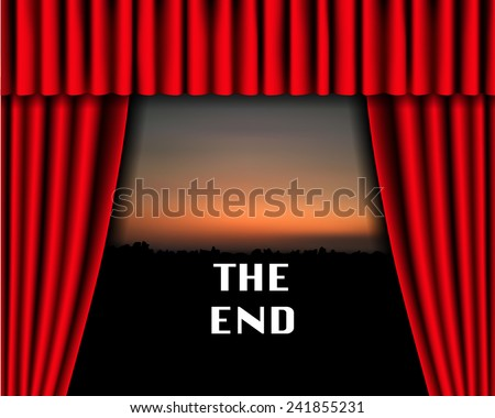 the end on sunset background with red curtain, vector illustration. - stock vector