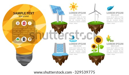 The energy infographic, modern infographic template, alternative power sources, energetic  - stock vector