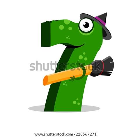 The English alphabet. Figure 7, the seventh. Crocodile vector illustration. - stock vector