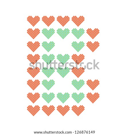 The English alphabet in many heart patterns, Letter B, One of the 26 English letters. - stock vector
