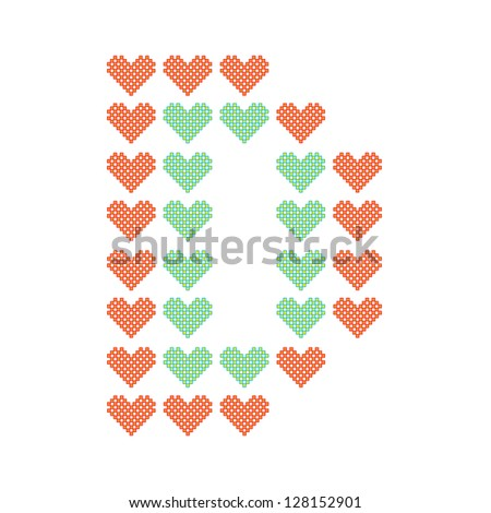 The English alphabet in many heart patterns, Letter D, One of the 26 English letters. - stock vector