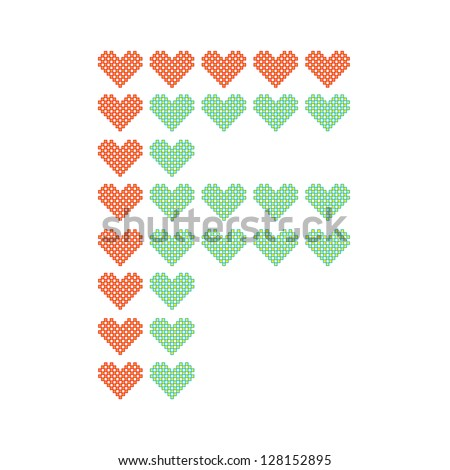 The English alphabet in many heart patterns, Letter F, One of the 26 English letters. - stock vector