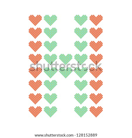The English alphabet in many heart patterns, Letter H, One of the 26 English letters. - stock vector