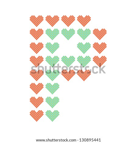 The English alphabet in many heart patterns, Letter P, One of the 26 English letters. - stock vector