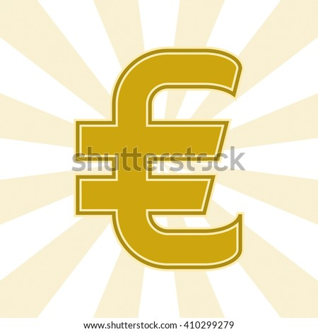 The Euro currency symbol in Golden color on the background of diverging rays. Vector illustration.