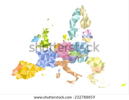 The European Union map - stock vector