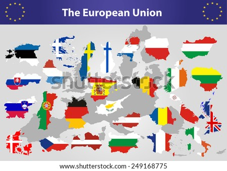 The European Union map and all the  countries flags of the member countries of the European Union overlaid on outline map - stock vector