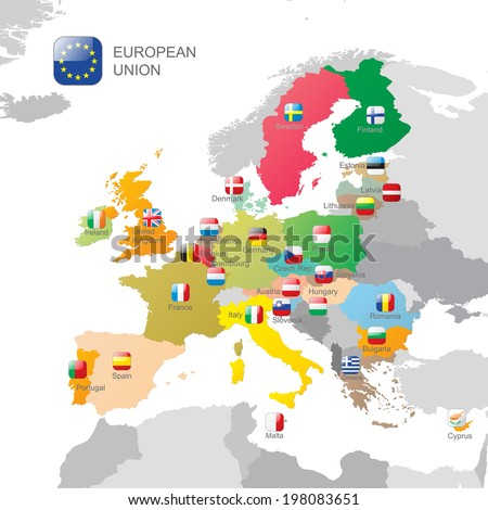 The European Union map and flags - stock vector