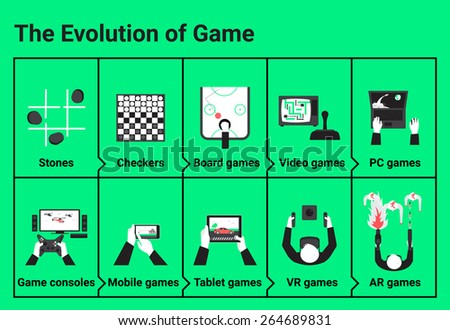 The evolution of game. From stones to virtual reality - stock vector