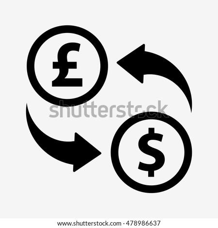 Exchange Dollars Pounds Money Convert Icon Stock Vector 478986637
