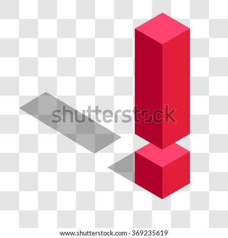 the exclamation mark in the isometric - stock vector