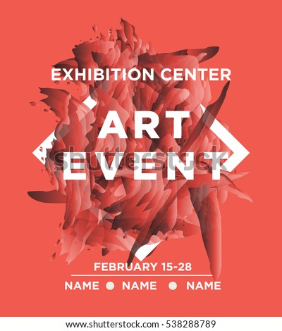 the exhibition art flayer poster card or banner abstract shapes in the frame