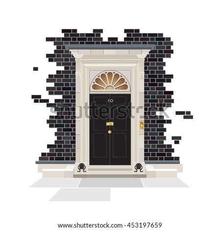 The exterior of Number 10 Downing Street. The official public residence of the UK Prime Minister since 1735. EPS10 vector format.  - stock vector