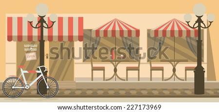 The facade of the cafe with umbrellas, chairs, tables - stock vector