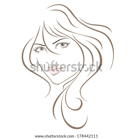 The face of a beautiful girl. Vector illustration - stock vector