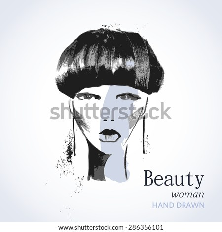 The face of a beautiful woman in black and white watercolor. Vector illustration of  woman beauty salon or banner design.