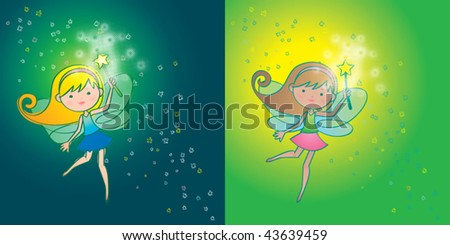 The fairy that gives us flowers. Vector illustration of a cute fairy, at her job (in 2 different styles). - stock vector