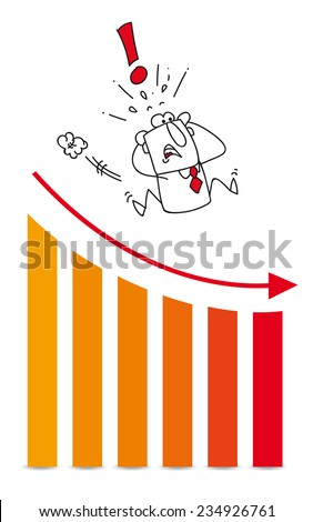 The fall of my company. Joe is very disappointed. He falls on a diagram which illustrates the the bad results of his company - stock vector