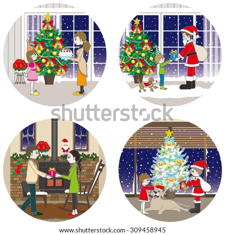 The family and Christmas - stock vector