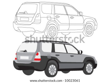 The family car in color and line style - stock vector