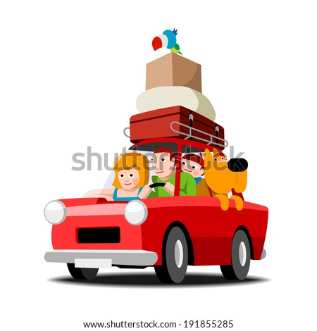 The family goes on holiday red car, family with pets, vector cartoon illustration on white - stock vector
