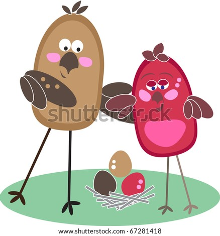The family of birds waits for occurrence of baby birds from eggs - stock vector