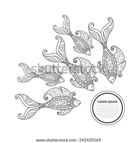 The fantastic fish. Fish float to the label. Seamless background with fantastic fish. - stock vector