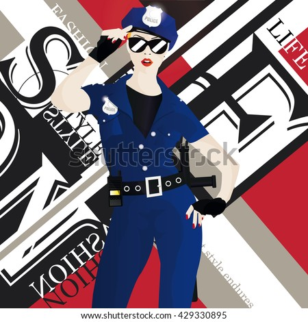 The fashionable girl in clothes of the police officer. Vector illustration