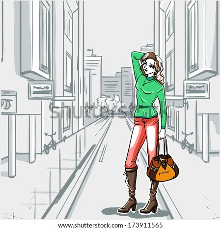 The fashionable woman goes for a walk by shop-windows of boutiques - stock vector