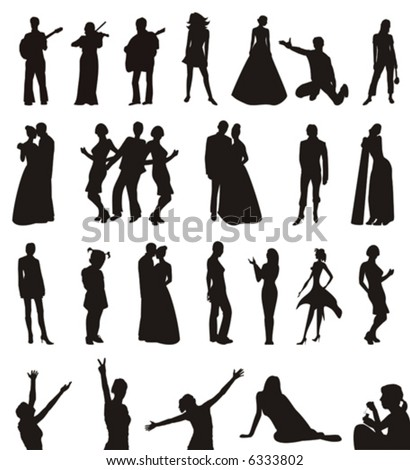 The figure containing of some silhouettes of men and women in different poses. The image is executed by black color on a white background