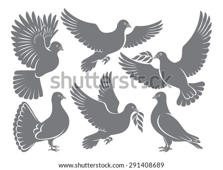 the figure shows a dove - stock vector