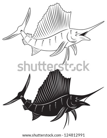 The figure shows a fish marlin - stock vector