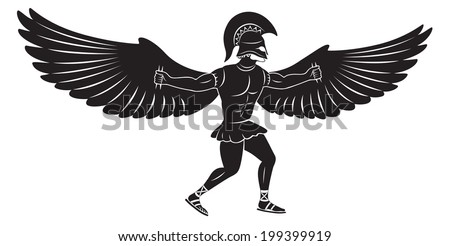 the figure shows Icarus with wings