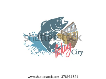 the figure shows sity fishing - stock vector