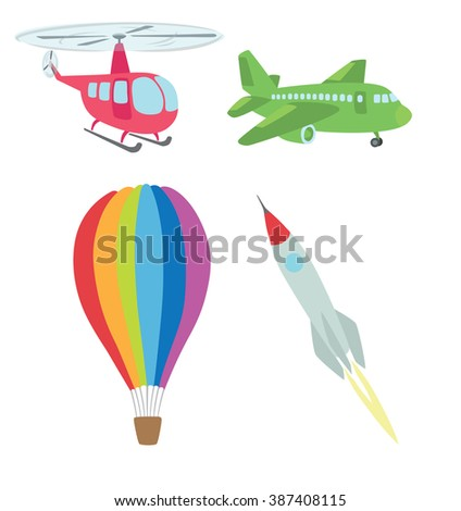 the figure shows the air transport - stock vector