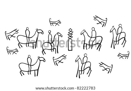 The figure shows the ancient drawings - stock vector