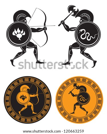 the figure shows the battle of the gladiators - stock vector