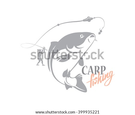 the figure shows the carp fishing - stock vector