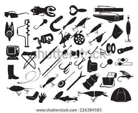 The figure shows the equipment for fishing - stock vector