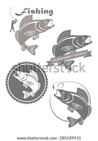 The figure shows the icons on the theme of fishing - stock vector