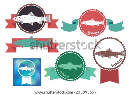 The figure shows the icons on the theme of trout - stock vector