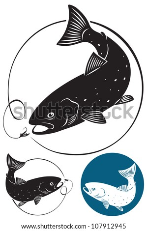 the figure shows the trout fish - stock vector