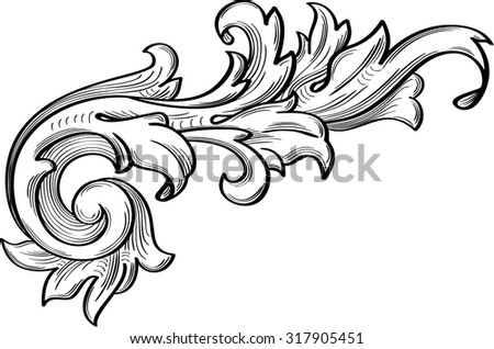 The fine acanthus pattern is on white - stock vector