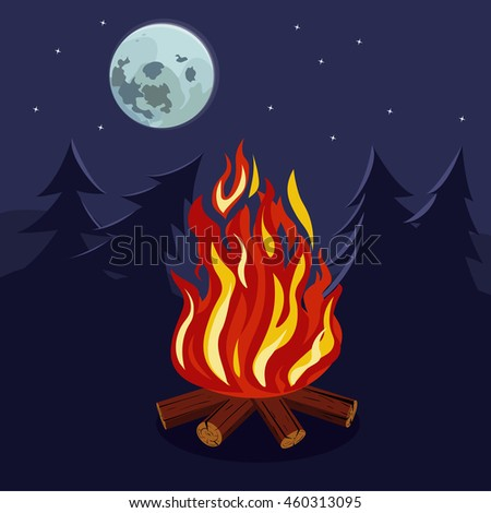 the fire in the forest under the moon