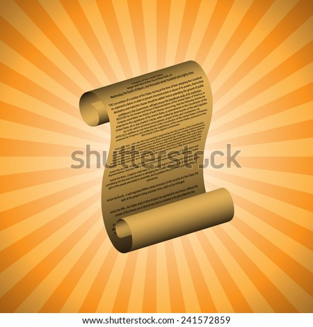 The first amendment on orange background (with readable text) - stock vector