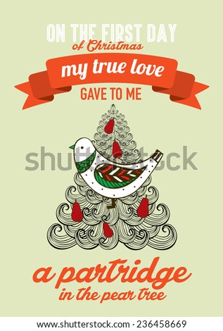 the first day of christmas of the twelve days of christmas advent calendar vector/illustration - a partridge in a pear tree - stock vector