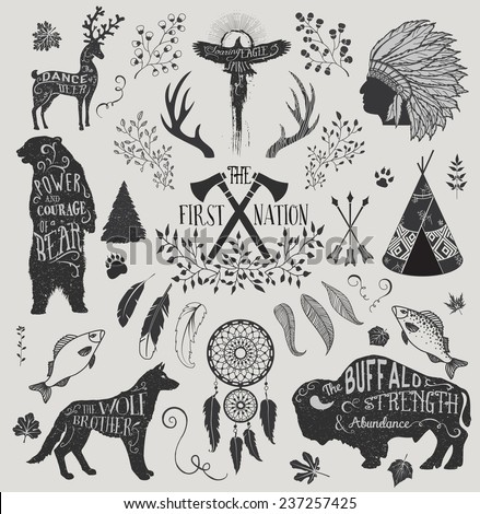 The First Nation - Set of design elements and clip art themed around the Native Americans, their spirituality and crafts, including headdress, dream catcher, tomahawks and animal spirits  - stock vector