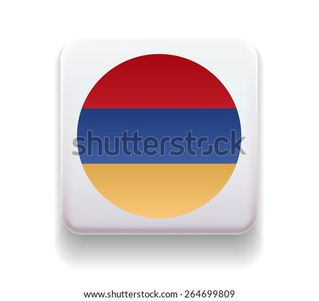The flag is made in the form of a computer button for the web site. The national flag of the country. Illustration. Image. Icon. Vector. Flag of Armenia - stock vector